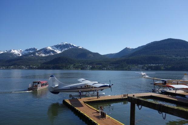 Float plane next to dock in Juneau Alaska.