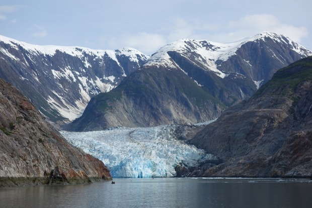Tracy Arm glacier seen from a small cruise ship in ALaska.