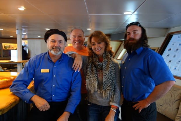 Crew aboard the small cruise ship Wilderness Discoverer in Alaska.