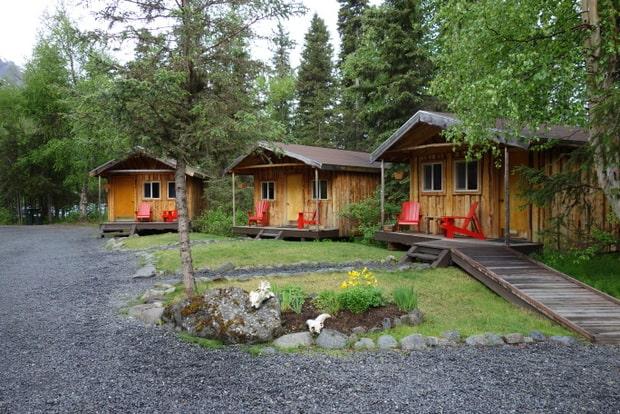 3 cabins at the Kenai riverside wilderness lodge on the kenai peninsula in Alaska.