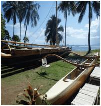 Outrigger canoe on the beach