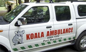 A picture of a truck labeled Koala Ambulance