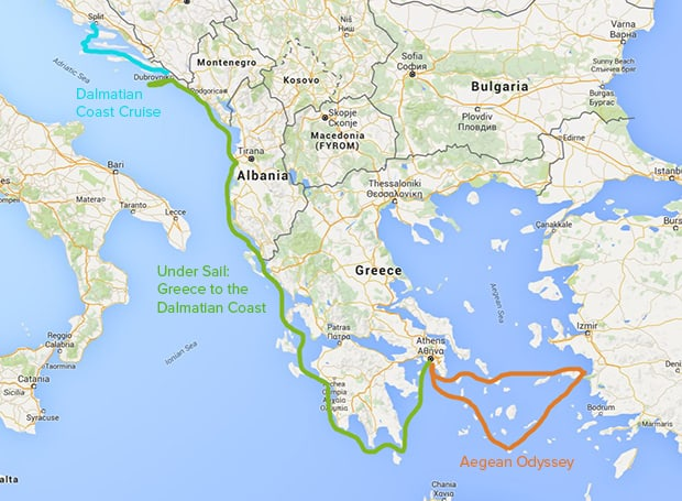 Map of the Mediterranean with certain small ship routes highlighted.