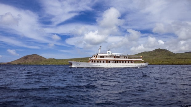Historic motor yacht Grace currently sailing in the Galapagos Islands.
