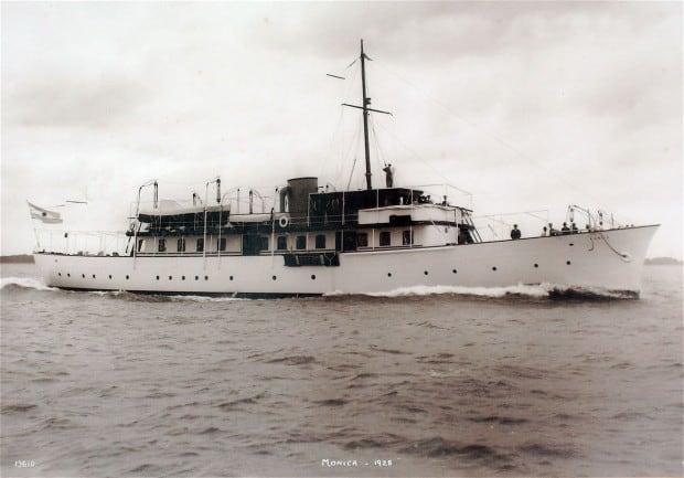Motor yacht Grace in the 1950's when Princess Grace of Monaco honeymooned aboard her.