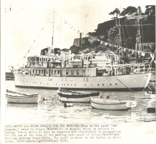 1950's newspaper clipping of motor yacht Grace.