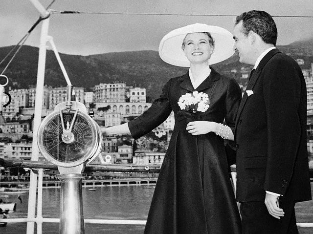 Owners Grace Kelly and Prince Rainier of Monaco aboard motor yacht Grace in the 1950's.