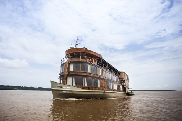 Small ship Peruvian Amazon rive cruise aboard luxury Delfin II.