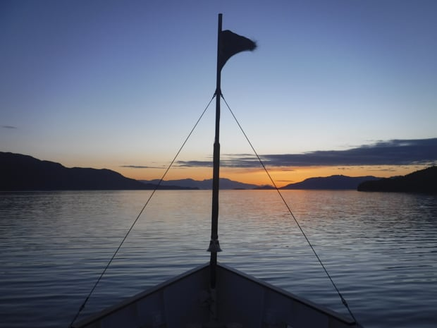 Sunset from the bow of the S.S. Legacy small ship cruise in Alaska.