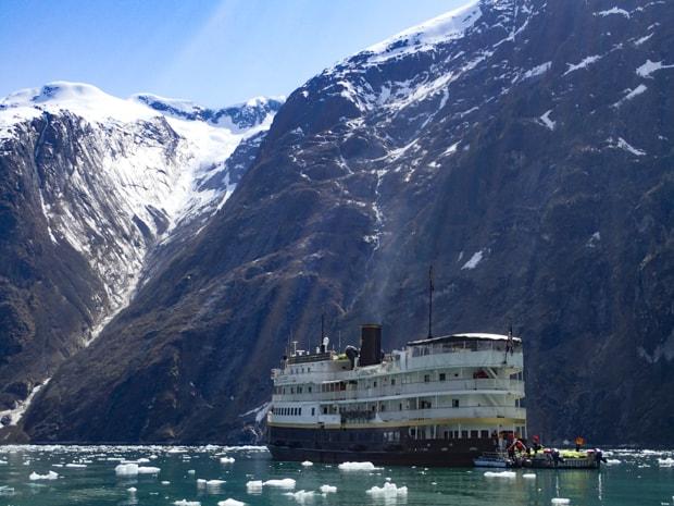 S.S. Legacy small ship cruising Alaskan glacial fjords.