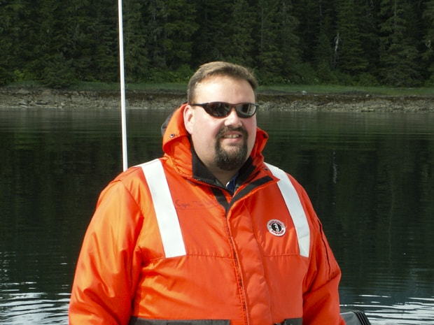 S.S. Legacy Captain Tim Voss on small ship cruise skiff excursion in Alaska.