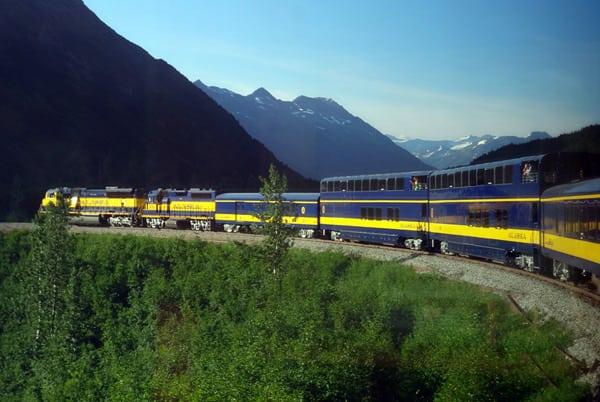 Alaska Railroad train ride to Anchorage.