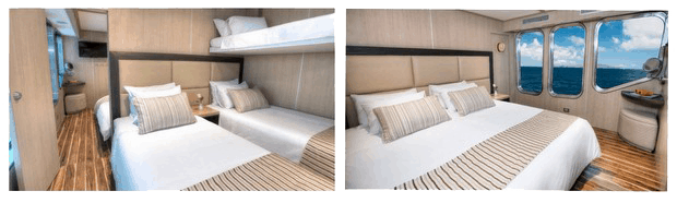twin beds and king bed in interconnecting cabins aboard small ship Origin in Galapagos