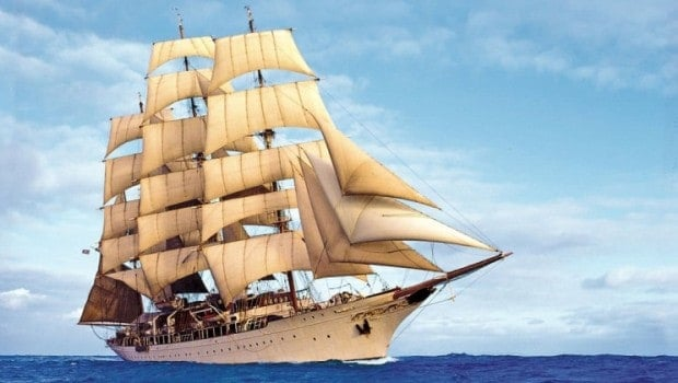Greek Isles cruise sailing aboard the romantic Sea Cloud in the Mediterranean.