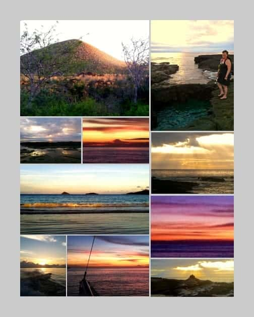 Collage of amazing colorful sunsets seen from a small ship cruise in the Galapagos.