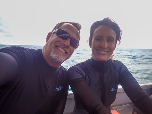 A happy couple aboard a small ship in the Great Barrier reef