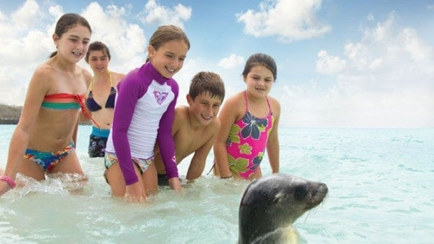 Young children playing in the water with sea lion pup.