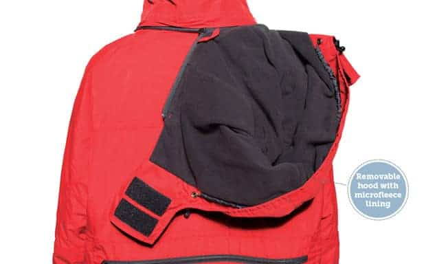 Polar expedition parka with removable hood with microfleece lining.