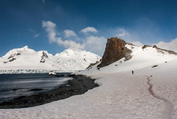 Person hiking in the snow along the ocean in Antarctica.