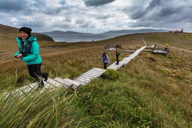 People hiking up a boardwalk in Cape Horn.