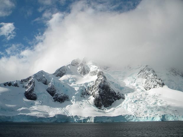 Snowy landscape seen from a small ship cruise in Antarctica.