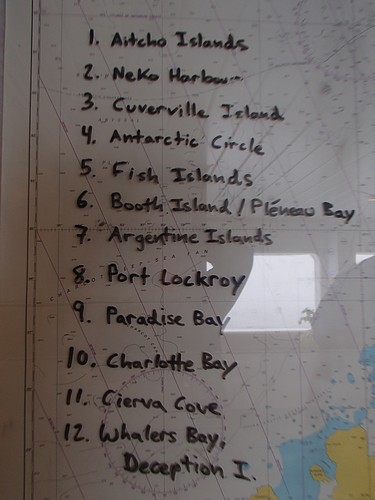 Map with 12 Antarctica destinations listed.