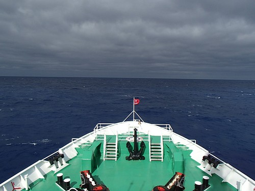 Bow of small ship cruise crossing the Drake Passage to Antarctica.
