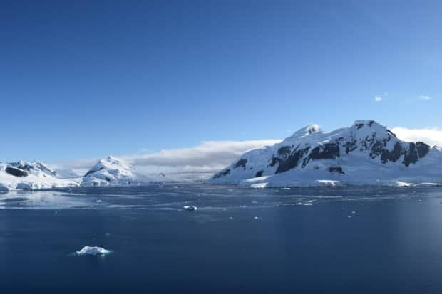 Snowy landscape of Antarctica seen from a small ship cruise.
