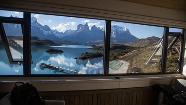 View from Explora Patagonia luxury lodge of Lake Pehoe and the iconic Patagonia mountains.