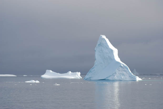 Icebergs seen from a small ship cruise in Antarctica.