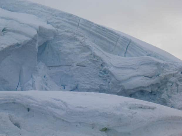 Landscape of snow from small ship cruise in Antarctica.
