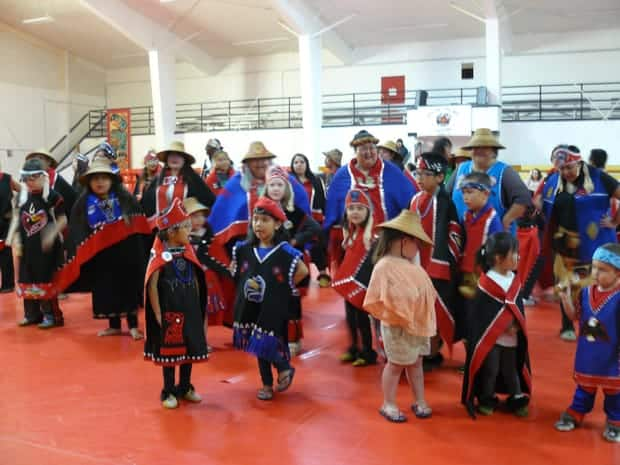 Small Tlingit children in traditional clothing dancing in a performance.