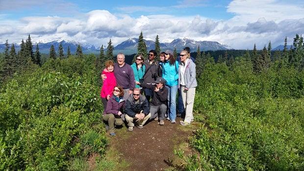 Group of Alaskan travelers on a hike in Alaska.
