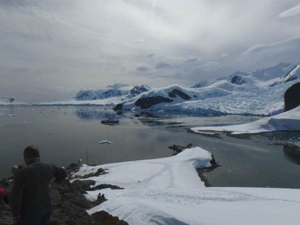 People hiking in Antarctica off their small ship cruise.