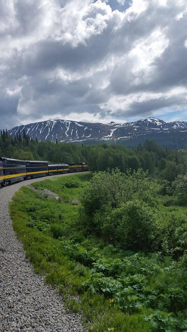 Alaskan railroad traveling through mountainous forests.