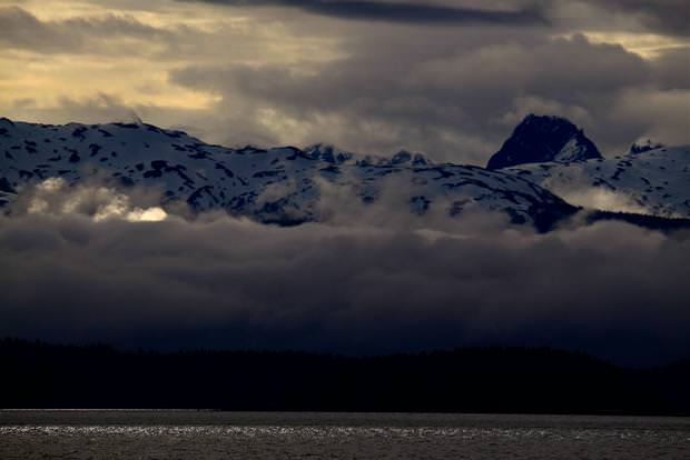Cloudy sunset seen from a small ship cruise in Alaska.