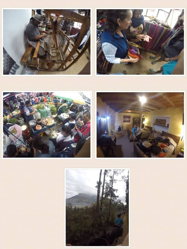 collage showing vendors with their goods in quito, ecuador as well as hotel interior images