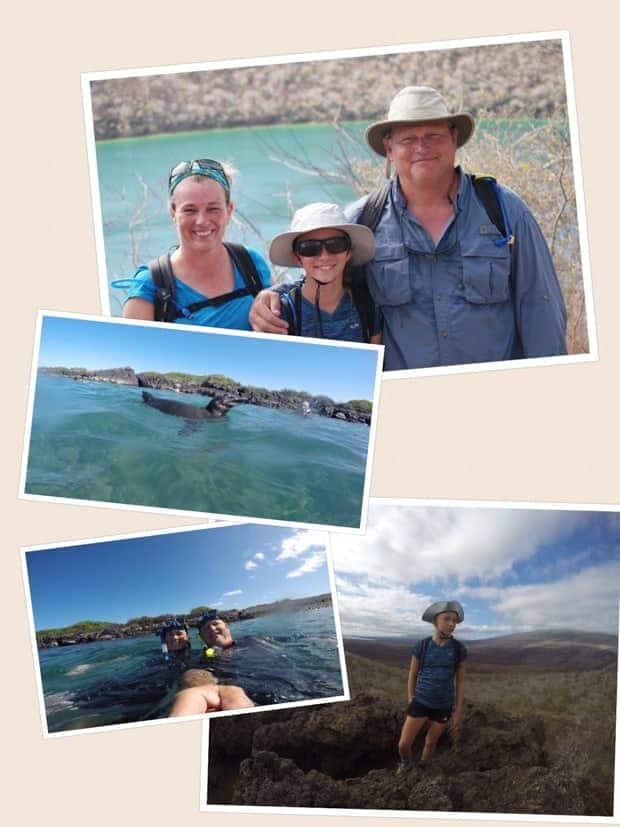 collage showing a family posing on a sunny day, galapagos sea lion, snorkelers and hiking