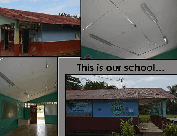 The Laguna de Tortuguero School in Costa Rica before the renovation.