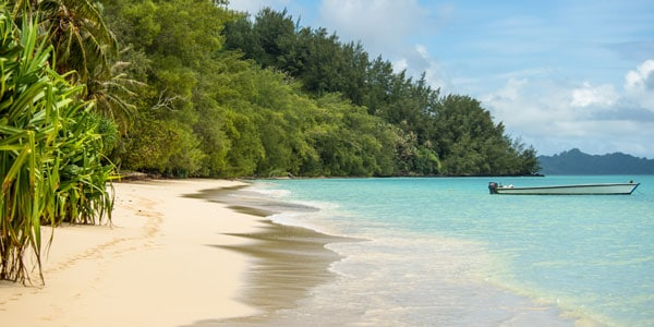 Small wooden dinghy sits anchored in calm turquoise waters by a deserted beach backed by lush jungle on a sunny day during a luxury Caribbean vacation.