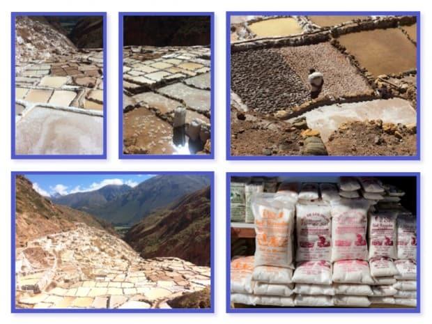 Working salt mine in Peru with walled ponds.