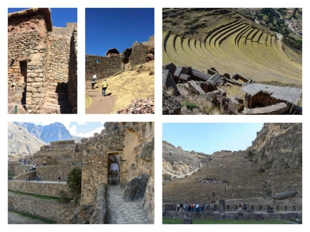 Pisac archaeological site with a terraced amphitheater and Ollantaytambo fortress with travelers walking about in Peru.