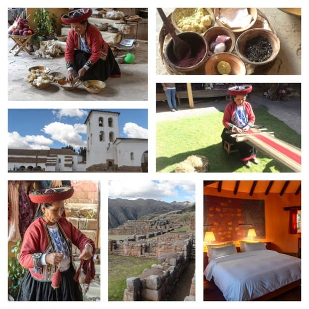Village of Chinchero with a local woman dying wool and weaving colorful textiles.  Colonial Catholic church built on on Inca temple ruins.