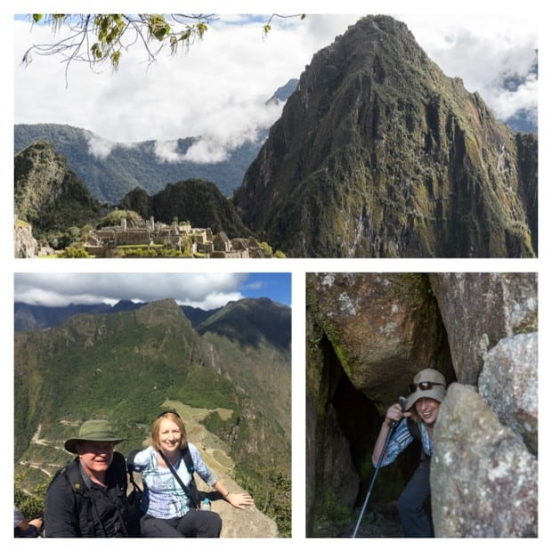 Wayna Picchu Mountain towering over Machu Picchu, traveler hiking through narrow rocks, happy couple on a rock at the top of Wayna Picchu in Peru.