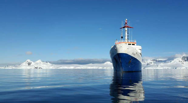 Exterior of small cruise ship in Antarctica.