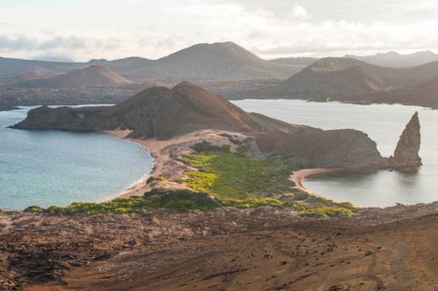 View point from a hike on Santa Cruz island off a small ship Galapagos cruise.