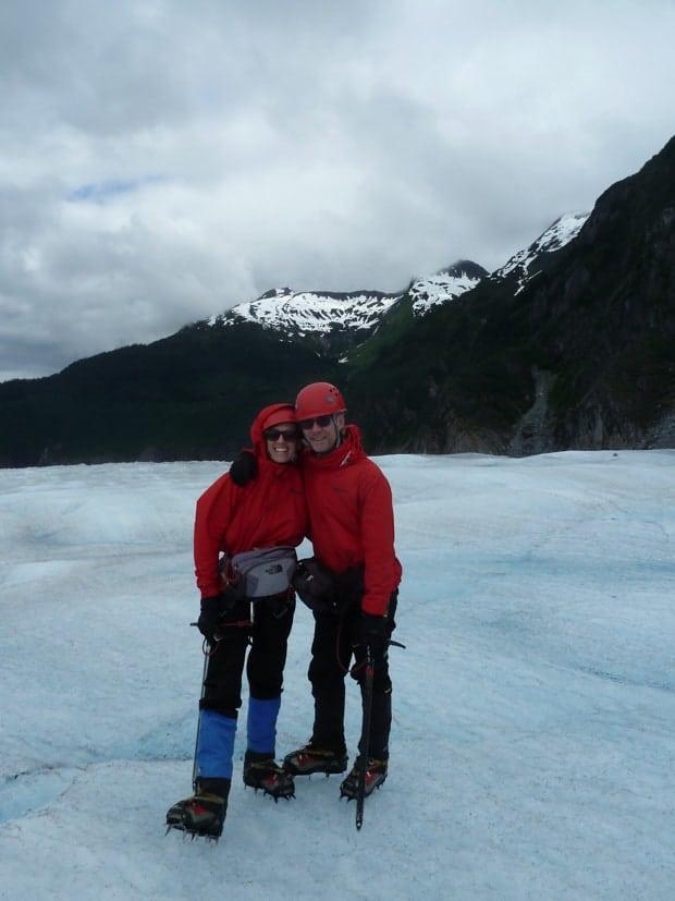 Glacier trekking on Mendenhall Glacier in Juneau, Alaska on a land tour.