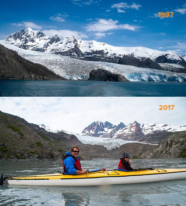 At the top, a large snowy Alaskan glacier on a sunny day, and at the bottom, and man and boy in a kayak in front of the same glacier, but with much less snow