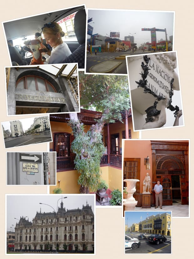 Collage of photos taken on a City Tour in Lima Peru.