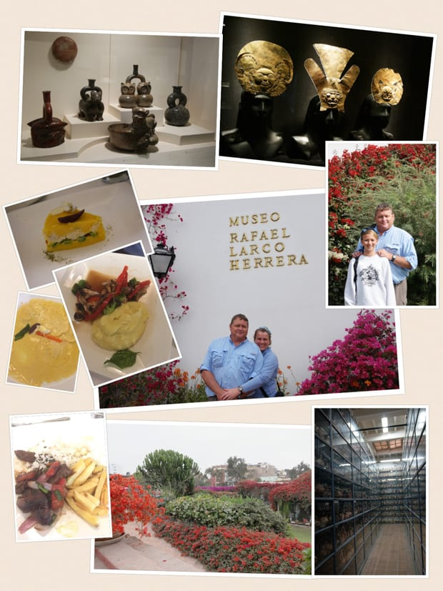 Collage of photos from the Museo Rafael Larco Herrera and their lunch.